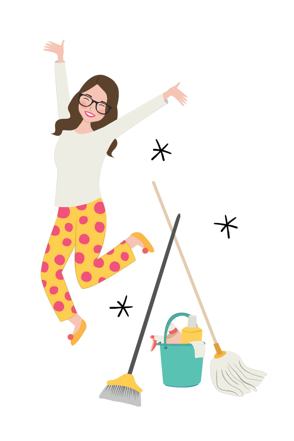 Illustration of Kat Potter with cleaning' products