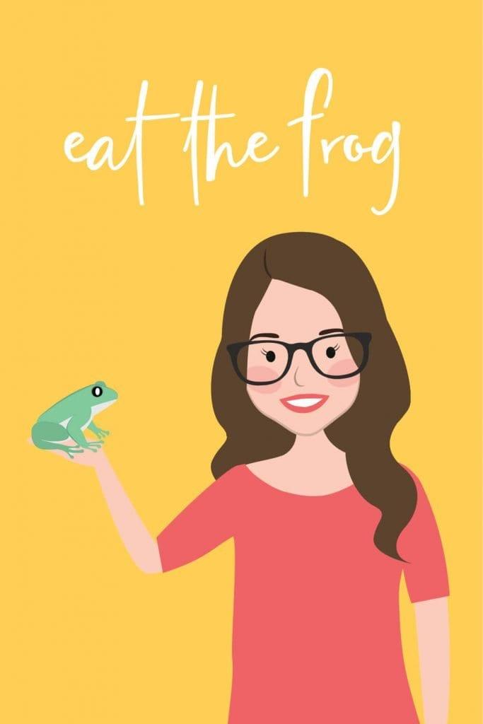digital illustration of Kat Potter holding a frog