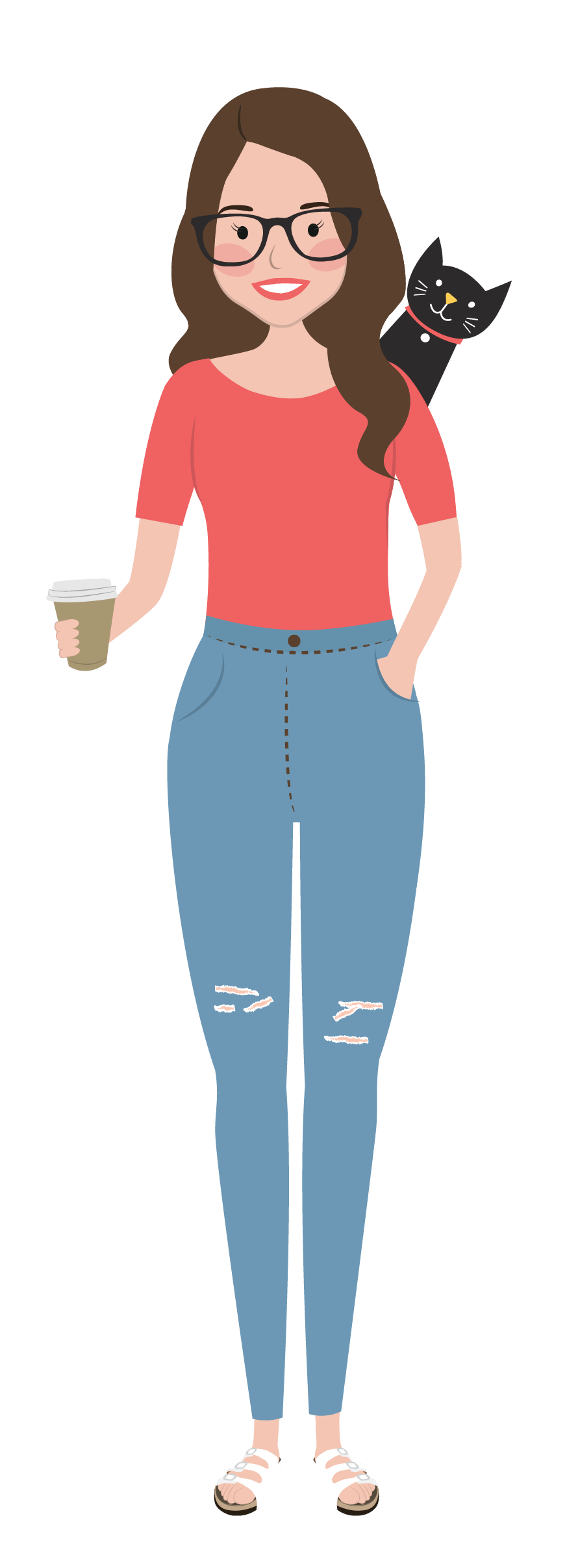 self portrait illustration of Kat Potter with coffee in her hand and a black cat on her shoulder