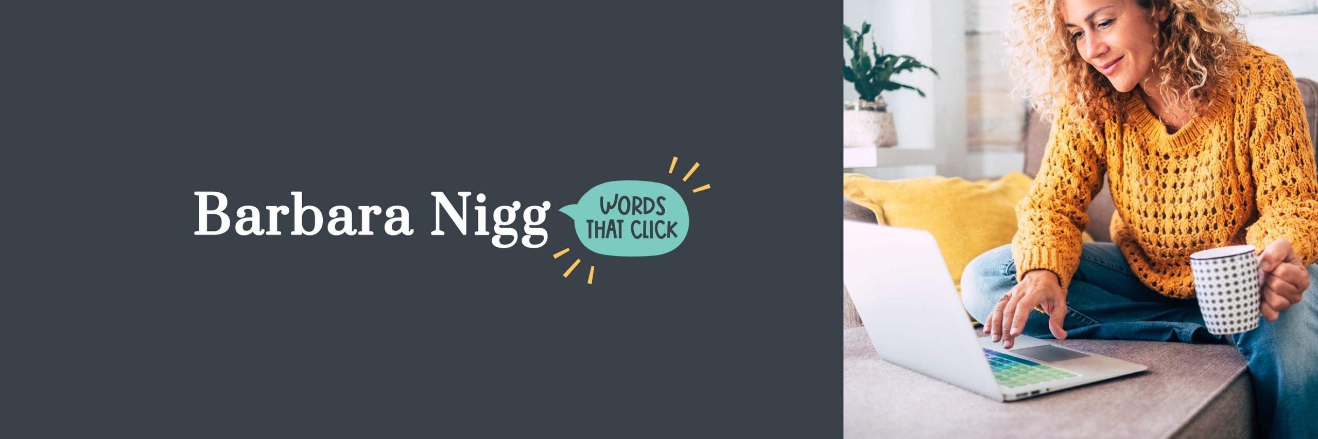 Reversed coloured logo design for Barbara Nigg Copywriter