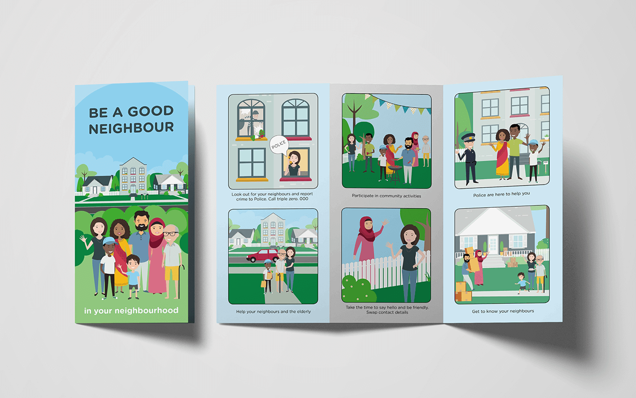 brochure for neighbourhood watch Australia with illustrations of people and houses