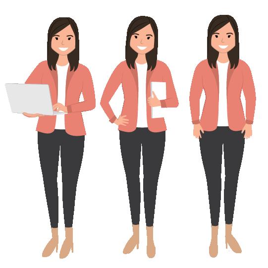 3 digitally drawn Character illustrations