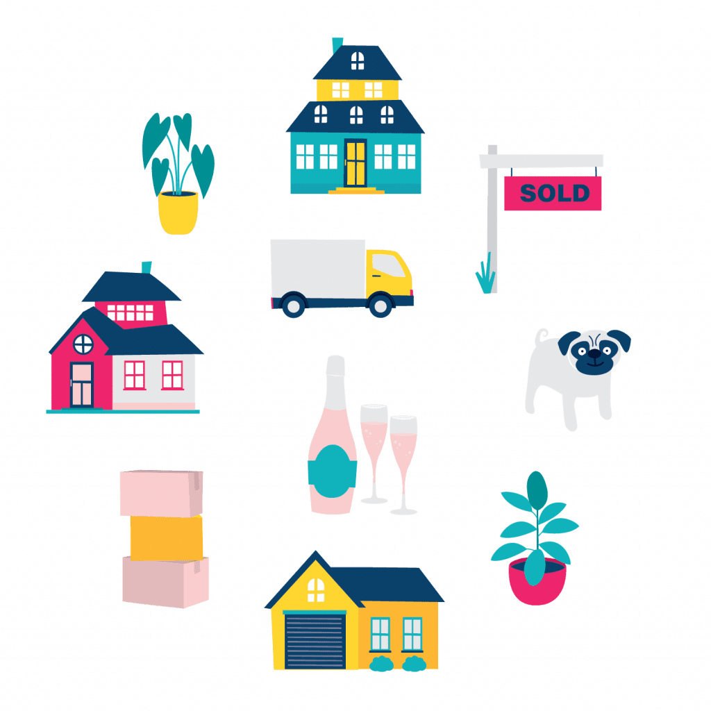 Set of flat style moving house Clipart illustrations