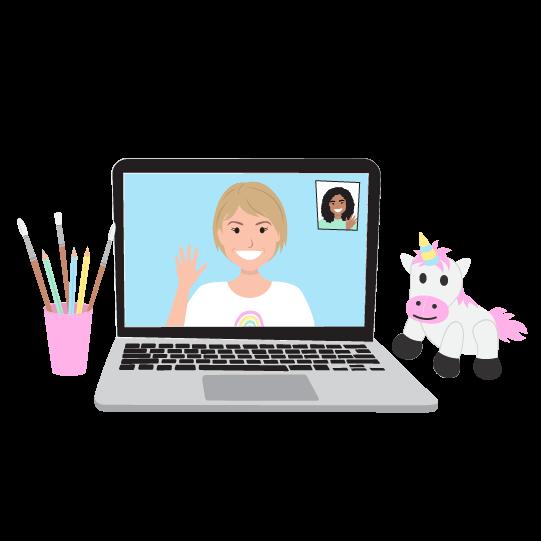 digital brand illustration of a presenter talking on a laptop screen