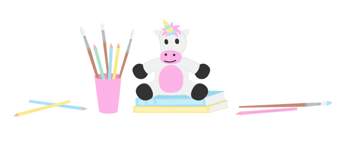 digital illustration of a unicorn toy and art supplies