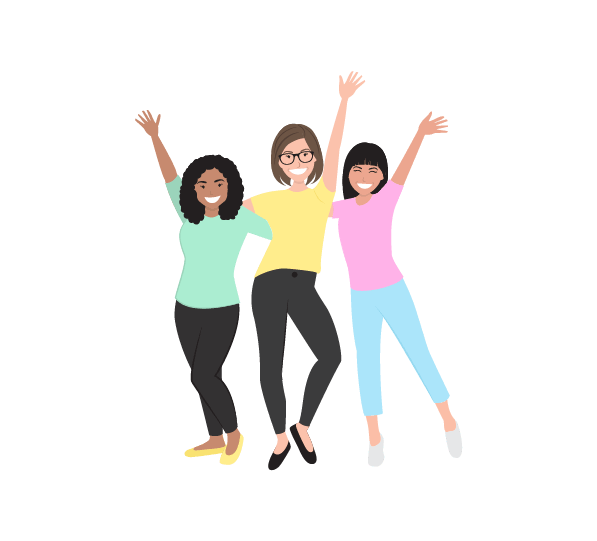 digital illustration of 3 mums standing together happily