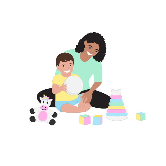 digital illustration of a mum sitting of the ground playing with her baby