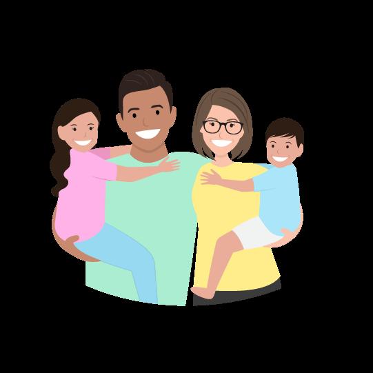 digital illustration of a happy family