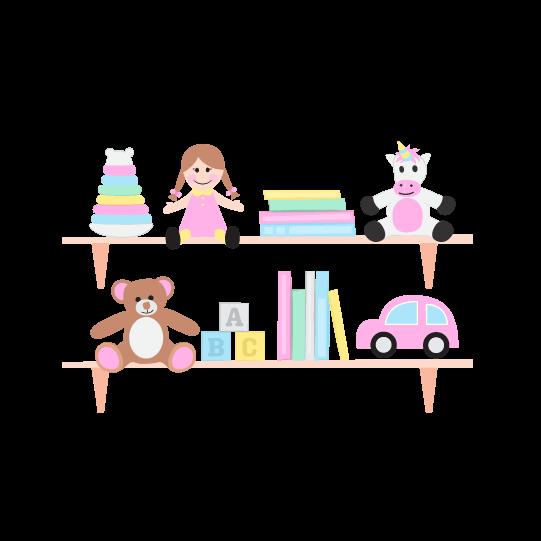 digital illustration of a toys on a shelf