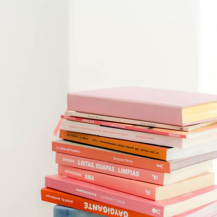 Pile of pink books