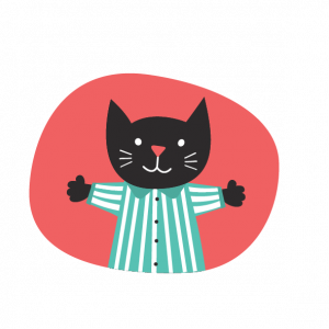 black cat wearing pyjamas digital illustration