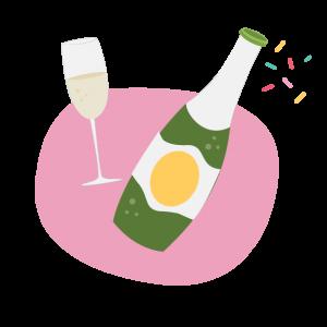 champagne and confetti illustration