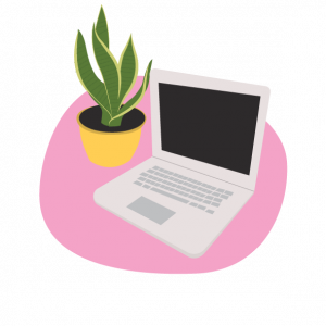 laptop with house plant illustration
