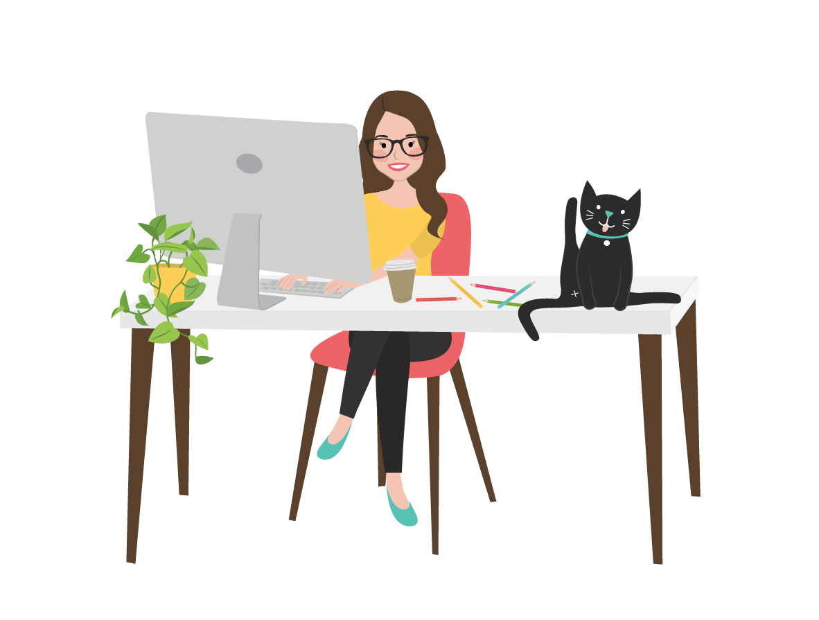 Springfield Lakes illustrator Kat Potter sitting at desk with black cat