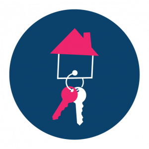 pink and navy coloured buying a house icon
