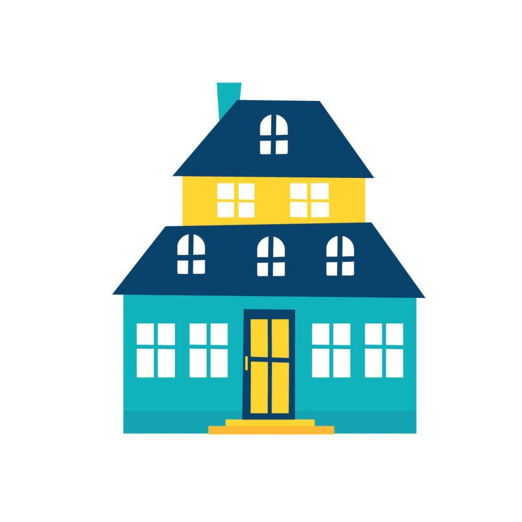 Yellow and teal coloured house, digitally drawn house illustration