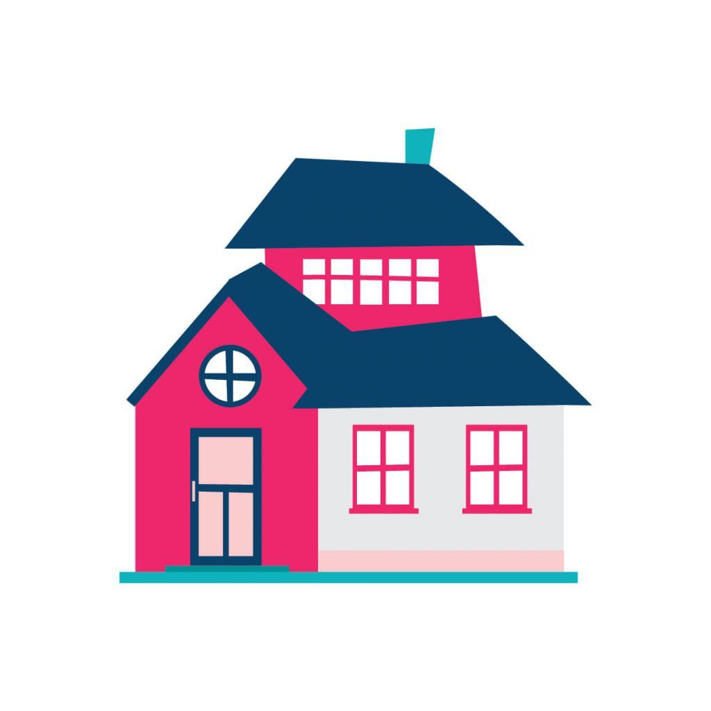 Pink and blue digitally drawn house illustration