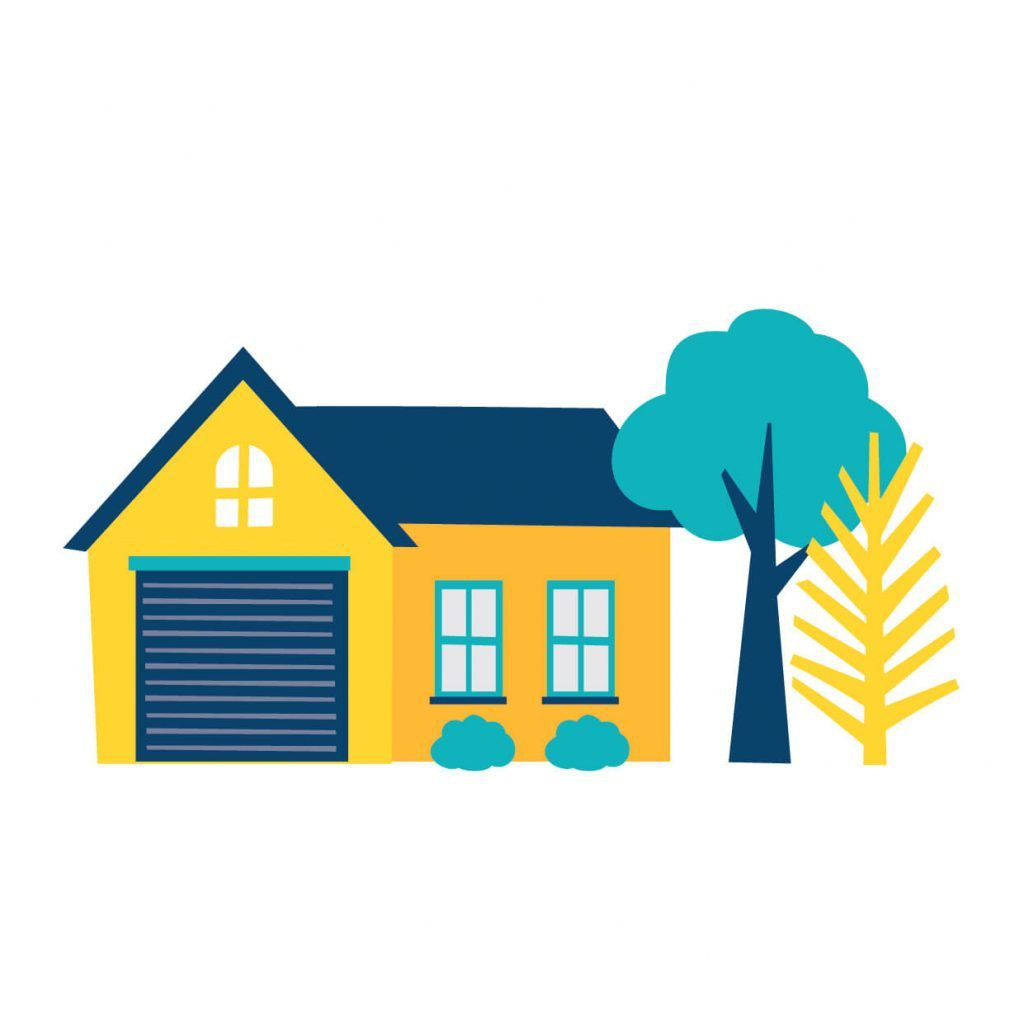 Digital illustration of a bright coloured house