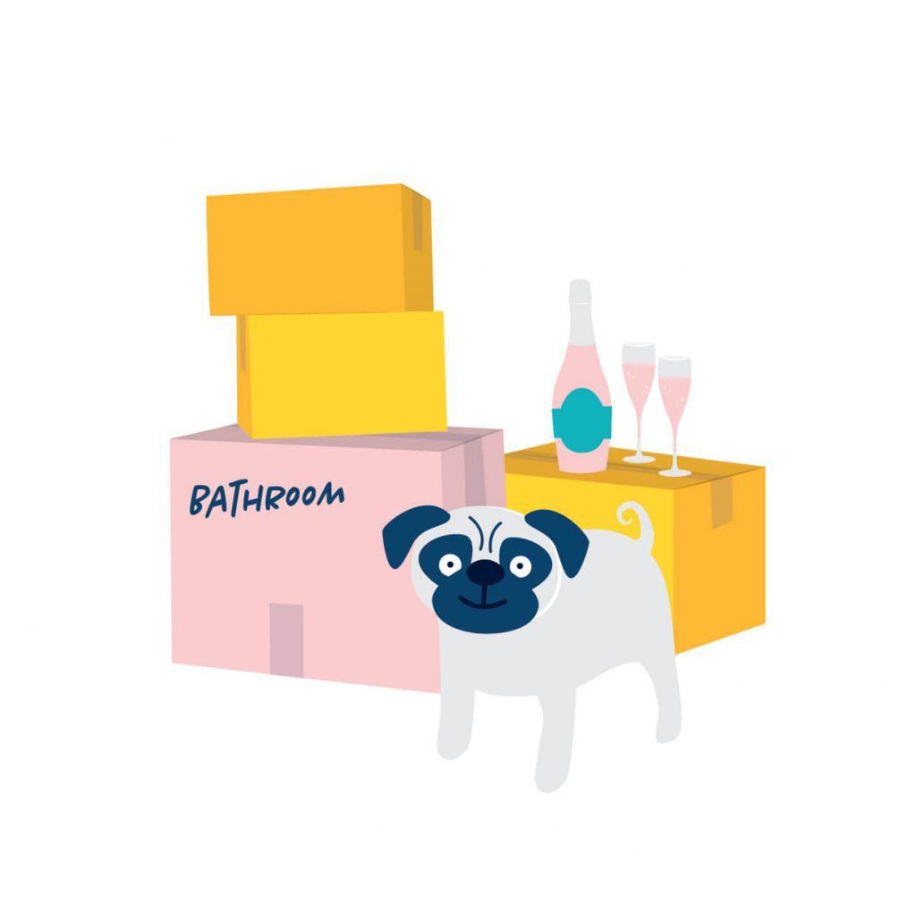 Digital illustration of moving boxes and pug dog