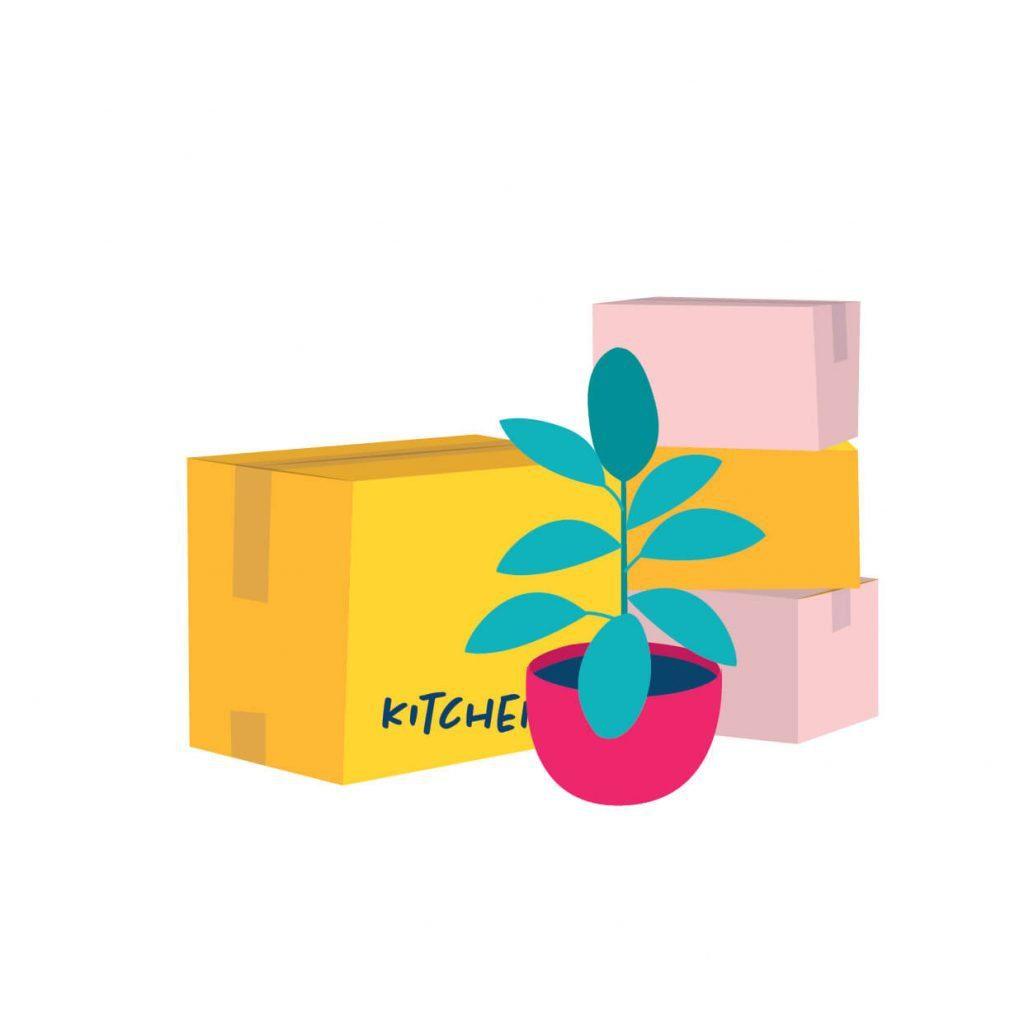 Digital illustration of moving boxes