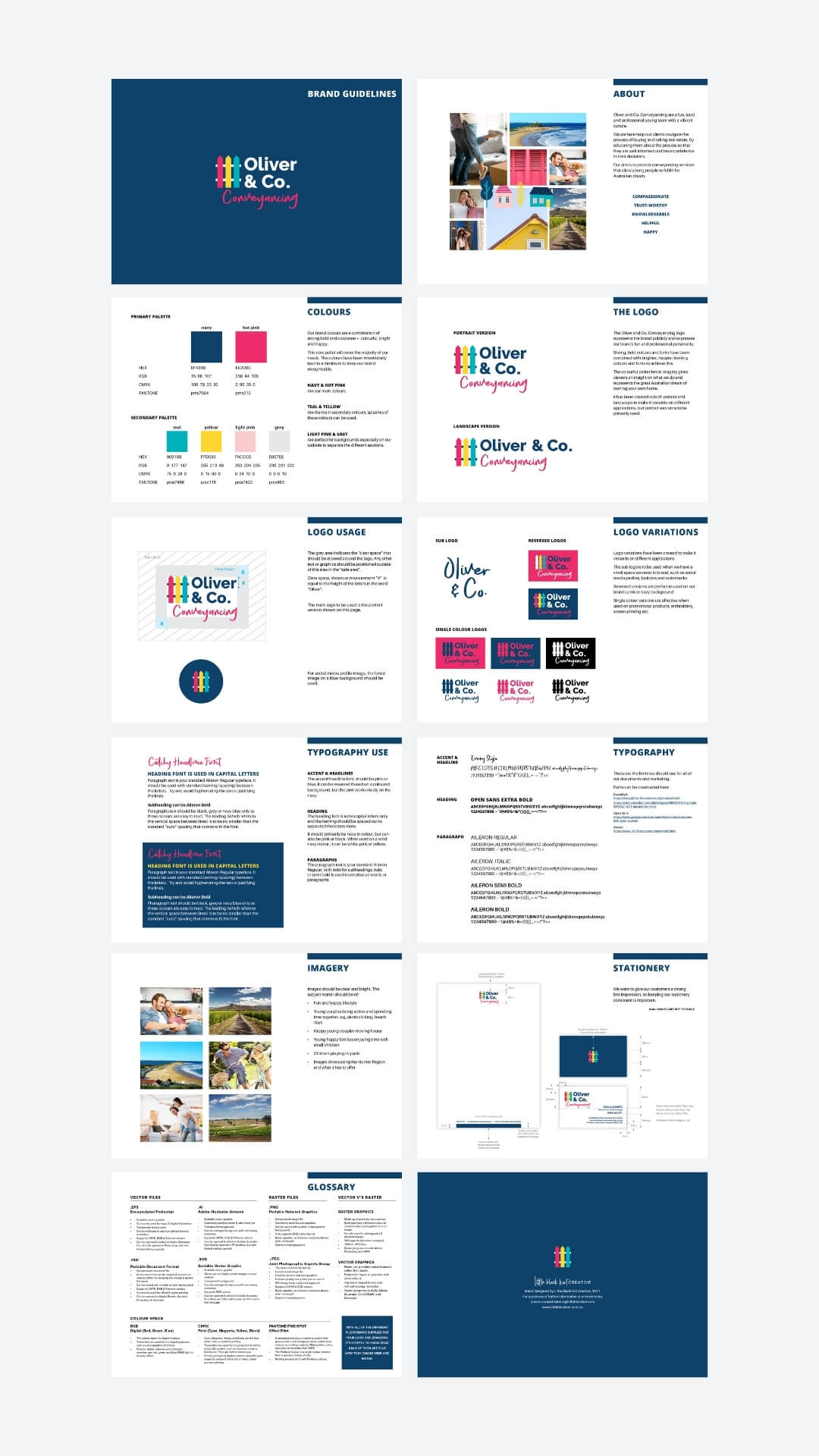 Brand Style Guide Design for my client Oliver and Co Conveyancing