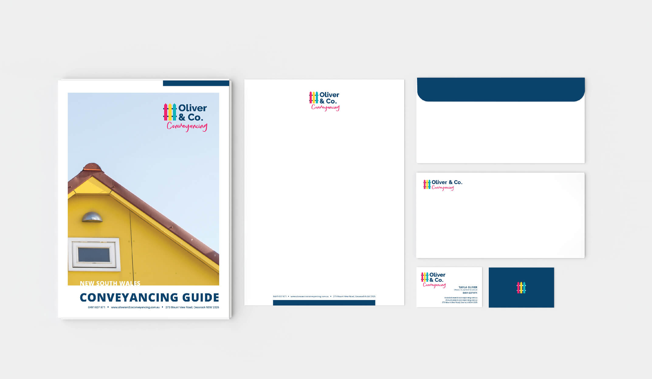 stationery designs for branding project showing the letterhead envelope business card and booklet design