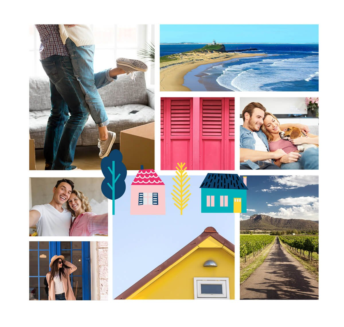 mood board design for a bright and colorful business branding project