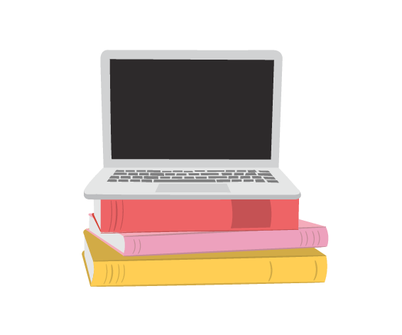 illustration of a laptop on colorful books
