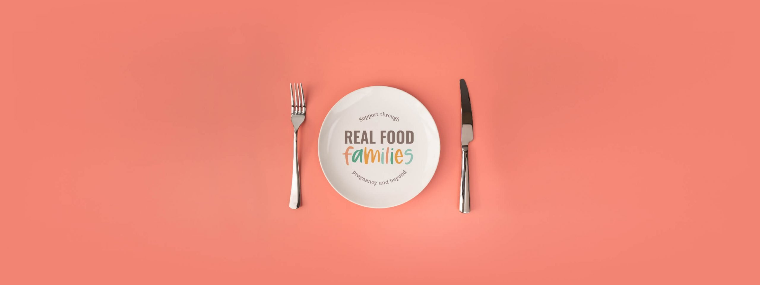 Real food Families Logo Design shown on a dinner plate