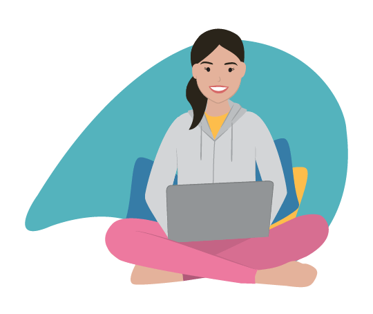 Brand Illustration for the Remote Expert, a lady sitting in a tracksuit on her laptop
