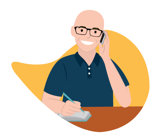 Digital illustration of a bald man on the phone at his desk