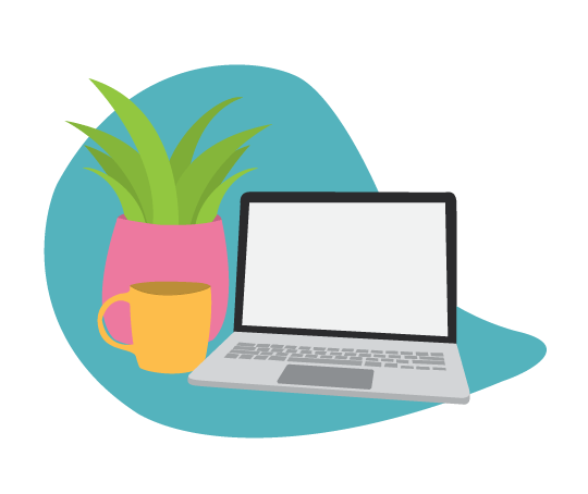 Digital illustration of a laptop with a plant and coffee cup