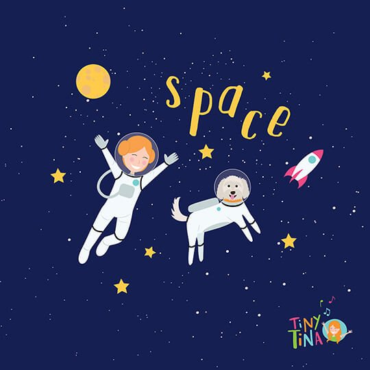 lady and dog in space illustration drawn by Brisbane illustrator Kat Potter