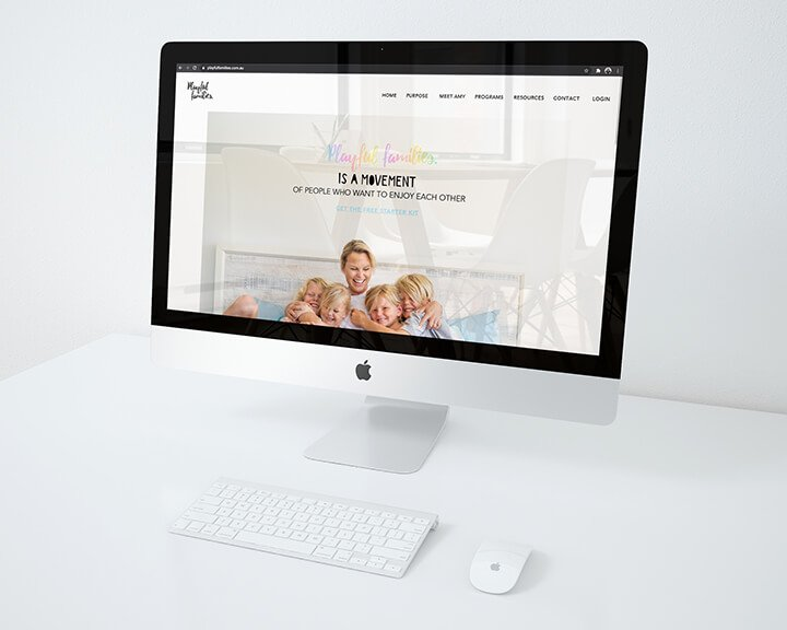 Website design for playful families shown on a computer screen