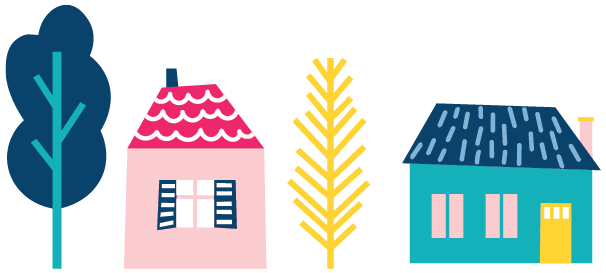 brand illustration of houses and trees for conveyancing business