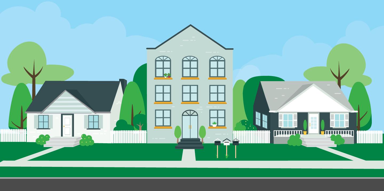 digital illustrations of houses on a street